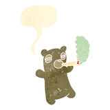 retro cartoon teddy bear smoking marijuana Royalty Free Stock Photos