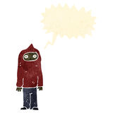 Retro cartoon teen in hooded sweatshirt Stock Image