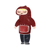 retro cartoon teen in hooded top Royalty Free Stock Photo