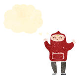 Retro cartoon teenager in hooded top Stock Image