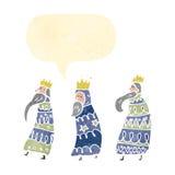 retro cartoon three kings with speech bubble Stock Image
