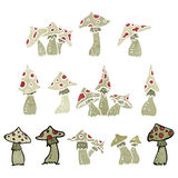 retro cartoon toadstools and mushrooms Stock Photography