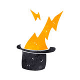 Retro cartoon top hat with lightning bolt Royalty Free Stock Image