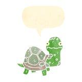Retro cartoon tortoise. Retro cartoon with texture. Isolated on White Stock Photos