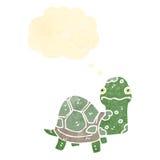 Retro cartoon tortoise. Retro cartoon with texture. Isolated on White Stock Photography