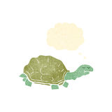 Retro cartoon tortoise. Retro cartoon with texture. Isolated on White Stock Photo