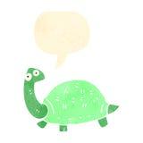 Retro cartoon tortoise with speech bubble. Retro cartoon with texture. Isolated on White Royalty Free Stock Photography