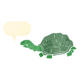 Retro cartoon tortoise with speech bubble. Retro cartoon with texture. Isolated on White vector illustration