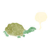 Retro cartoon tortoise with speech bubble. Retro cartoon with texture. Isolated on White royalty free illustration