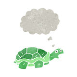 Retro cartoon tortoise with thought bubble. Retro cartoon with texture. Isolated on White royalty free illustration