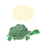 Retro cartoon tortoise with thought bubble. Retro cartoon with texture. Isolated on White stock illustration