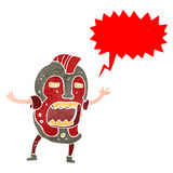 Retro cartoon tribal mask man shouting. Retro cartoon with texture. Isolated on White Stock Photography