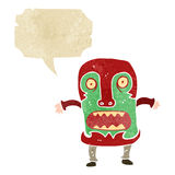 Retro cartoon tribal mask man shouting Royalty Free Stock Image