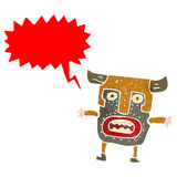 Retro cartoon tribal mask man shouting Royalty Free Stock Photography