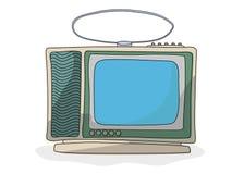 Retro cartoon  tv set. Retro style tv drawing over white background Royalty Free Stock Photo