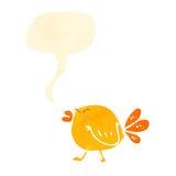 Retro cartoon tweeting angry bird. Retro cartoon with texture. Isolated on White Royalty Free Stock Photo