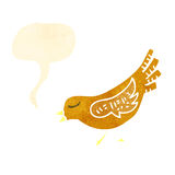 Retro cartoon tweeting bird Royalty Free Stock Image