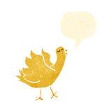 Retro cartoon tweeting bird. Retro cartoon with texture. Isolated on White Stock Photos
