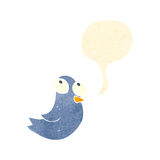 Retro cartoon tweeting bird Royalty Free Stock Photos