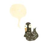 Retro cartoon tweeting bird. Retro cartoon with texture. Isolated on White Royalty Free Stock Photos