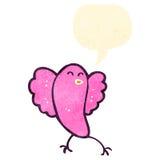 Retro cartoon tweeting pink bird Royalty Free Stock Images