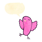 Retro cartoon tweeting pink bird. Retro cartoon with texture. Isolated on White Royalty Free Stock Images