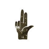 Retro cartoon two fingers gun symbol. Retro cartoon with texture. Isolated on White Stock Photography