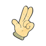 Retro cartoon two fingers symbol. Retro cartoon with texture. Isolated on White Royalty Free Stock Images