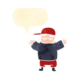 Retro cartoon ugly boy with speech bubble Royalty Free Stock Images