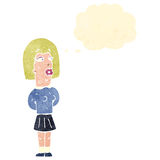Retro cartoon ugly girl with thought bubble Royalty Free Stock Photography
