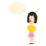 Retro cartoon ugly woman with thought bubble Stock Images