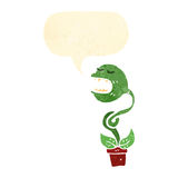 retro cartoon venus fly trap with speech bubble Stock Image