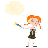 Retro cartoon viking girl with sword Royalty Free Stock Photography