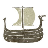 Retro cartoon viking ship Stock Images