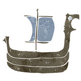 Retro cartoon viking ship Royalty Free Stock Photography