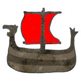 Retro cartoon viking ship Stock Photography