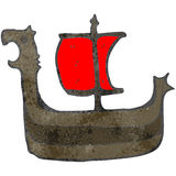 Retro cartoon viking ship Stock Photo