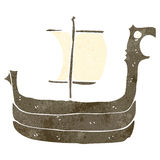 Retro cartoon viking ship Royalty Free Stock Photos