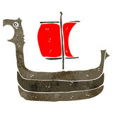 Retro cartoon viking ship Stock Photos