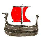 retro cartoon viking ship Stock Photography
