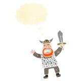 retro cartoon viking with sword Stock Photo