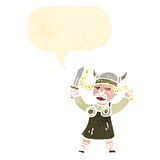 Retro cartoon viking woman singing Stock Images