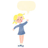 Retro cartoon waving girl with speech bubble Stock Image