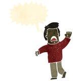 Retro cartoon waving man shouting. Retro cartoon with texture. Isolated on White Royalty Free Stock Photo