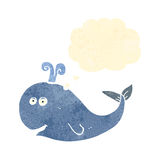 retro cartoon whale with thought bubble Royalty Free Stock Image