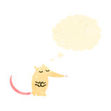 Retro cartoon white mouse with speech bubble Stock Image