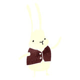 Retro cartoon white rabbit Stock Photos