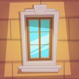 Retro Cartoon Window. Cartoon illustration of the retro window with ledges and ornaments stock illustration