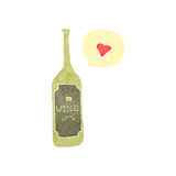 retro cartoon wine bottle with love heart Royalty Free Stock Photos