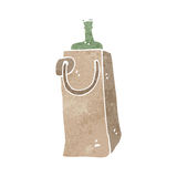 retro cartoon wine bottle in paper bag Royalty Free Stock Photo
